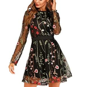Floral Embroidered Mesh Long Sleeve Dress